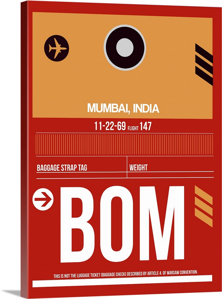 Large Solid-Faced Canvas Print Wall Art Print 30 x 40 entitled BOM Mumbai Luggage Tag II Solid-Faced Canvas Print entitled BOM Mumbai Luggage Tag II.  Multiple sizes available.  Primary colors within this image include Dark Red, Peach, Black, White.  Made in USA.  All products come with a 365 day workmanship guarantee.  Inks used are latex-based and designed to last.  Canvas is handcrafted and made-to-order in the United States using high quality artist-grade canvas.  Archival inks prevent fading and preserve as much fine detail as possible with no over-saturation or color shifting.
