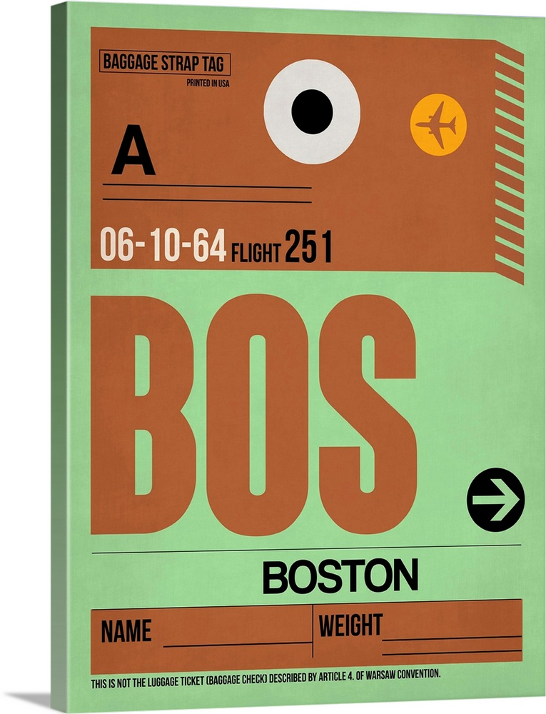 Large Solid-Faced Canvas Print Wall Art Print 30 x 40 entitled BOS Boston Luggage Tag I Solid-Faced Canvas Print entitled BOS Boston Luggage Tag I.  Multiple sizes available.  Primary colors within this image include Orange, Brown, Light Green, Black.  Made in USA.  All products come with a 365 day workmanship guarantee.  Archival-quality UV-resistant inks.  Canvas is handcrafted and made-to-order in the United States using high quality artist-grade canvas.  Canvas depth is 1.25 and includes a finished backing with pre-installed hanging hardware.