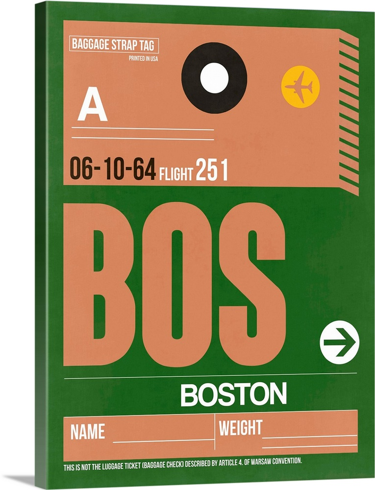 Large Solid-Faced Canvas Print Wall Art Print 30 x 40 entitled BOS Boston Luggage Tag I Solid-Faced Canvas Print entitled BOS Boston Luggage Tag I.  Multiple sizes available.  Primary colors within this image include Orange, Forest Green, Peach, White.  Made in the USA.  All products come with a 365 day workmanship guarantee.  Inks used are latex-based and designed to last.  Featuring a proprietary design, our canvases produce the tightest corners without any bubbles, ripples, or bumps and will not warp or sag over time.  Canvas depth is 1.25 and includes a finished backing with pre-installed hanging hardware.