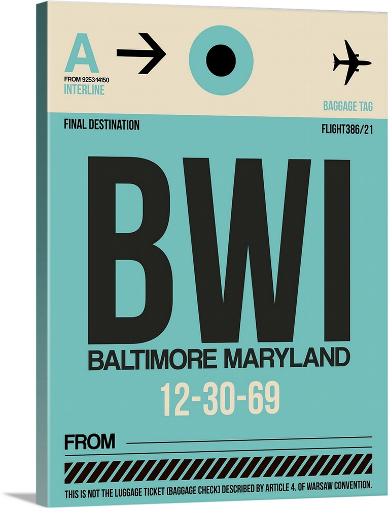 Large Solid-Faced Canvas Print Wall Art Print 30 x 40 entitled BWI Baltimore Luggage Tag I Solid-Faced Canvas Print entitled BWI Baltimore Luggage Tag I.  Multiple sizes available.  Primary colors within this image include Black, Light Gray Blue.  Made in the USA.  All products come with a 365 day workmanship guarantee.  Archival-quality UV-resistant inks.  Canvas depth is 1.25 and includes a finished backing with pre-installed hanging hardware.  Canvas is handcrafted and made-to-order in the United States using high quality artist-grade canvas.
