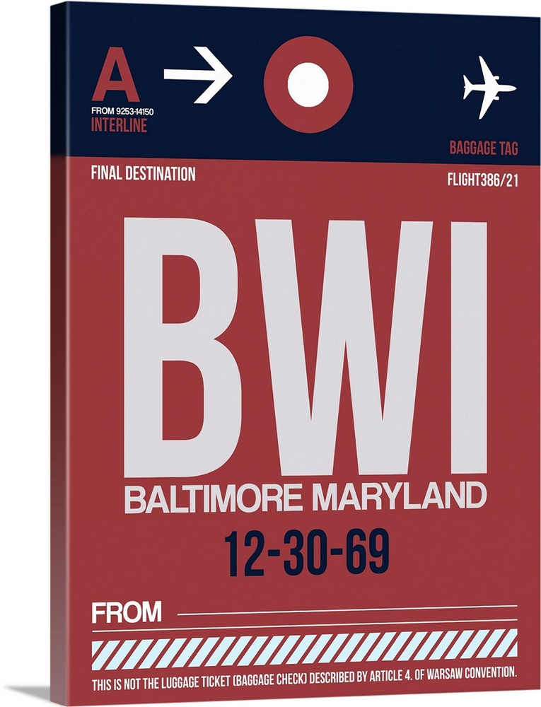 Large Solid-Faced Canvas Print Wall Art Print 30 x 40 entitled BWI Baltimore Luggage Tag II Solid-Faced Canvas Print entitled BWI Baltimore Luggage Tag II.  Multiple sizes available.  Primary colors within this image include Pink, White, Dark Navy Blue.  Made in the USA.  All products come with a 365 day workmanship guarantee.  Archival-quality UV-resistant inks.  Featuring a proprietary design, our canvases produce the tightest corners without any bubbles, ripples, or bumps and will not warp or sag over time.  Archival inks prevent fading and preserve as much fine detail as possible with no over-saturation or color shifting.