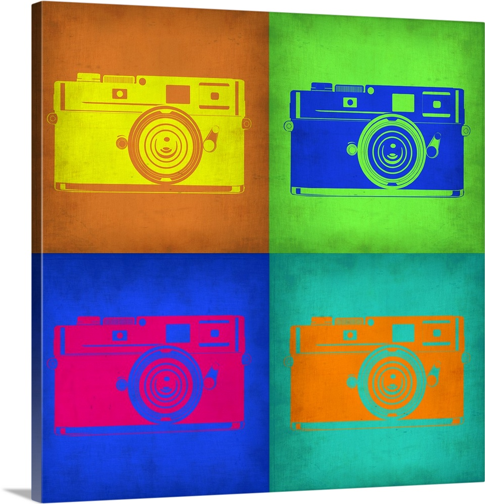 Large Solid-Faced Canvas Print Wall Art Print 20 x 20 entitled Camera Pop Art I Solid-Faced Canvas Print entitled Camera Pop Art I.  Multiple sizes available.  Primary colors within this image include Orange, Green, Blue, Fuschia.  Made in the USA.  All products come with a 365 day workmanship guarantee.  Inks used are latex-based and designed to last.  Canvas is handcrafted and made-to-order in the United States using high quality artist-grade canvas.  Featuring a proprietary design, our canvases produce the tightest corners without any bubbles, ripples, or bumps and will not warp or sag over time.