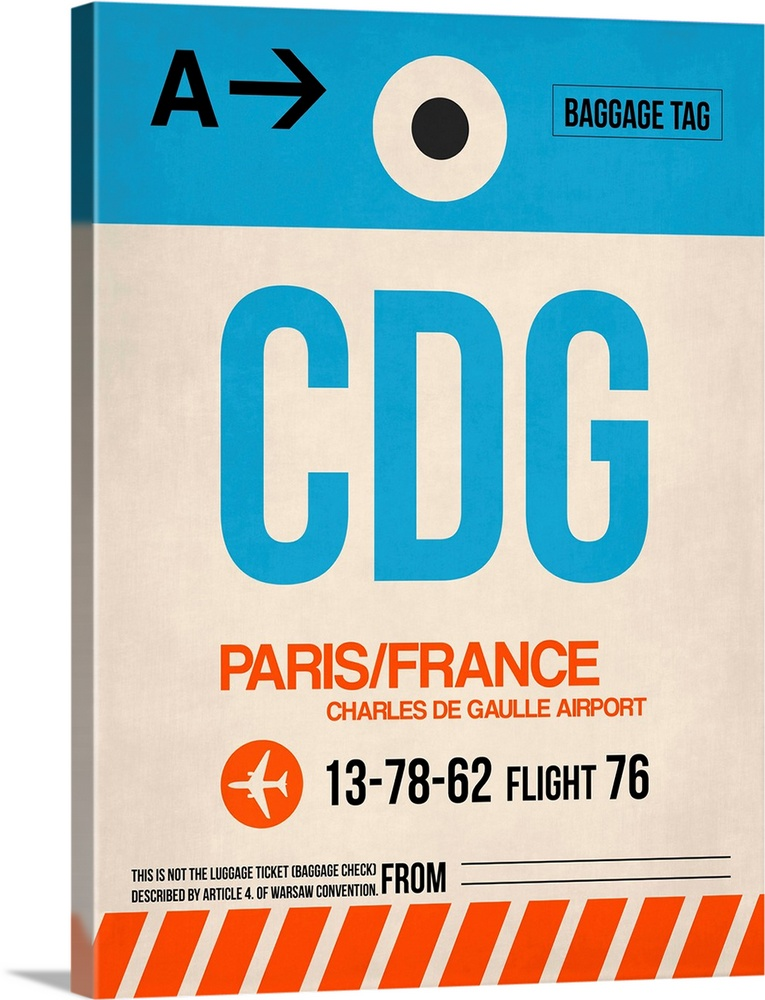 Large Solid-Faced Canvas Print Wall Art Print 30 x 40 entitled CDG Paris Luggage Tag II Solid-Faced Canvas Print entitled CDG Paris Luggage Tag II.  Multiple sizes available.  Primary colors within this image include Red, Black, White, Teal.  Made in the USA.  All products come with a 365 day workmanship guarantee.  Archival-quality UV-resistant inks.  Featuring a proprietary design, our canvases produce the tightest corners without any bubbles, ripples, or bumps and will not warp or sag over time.  Canvas is handcrafted and made-to-order in the United States using high quality artist-grade canvas.
