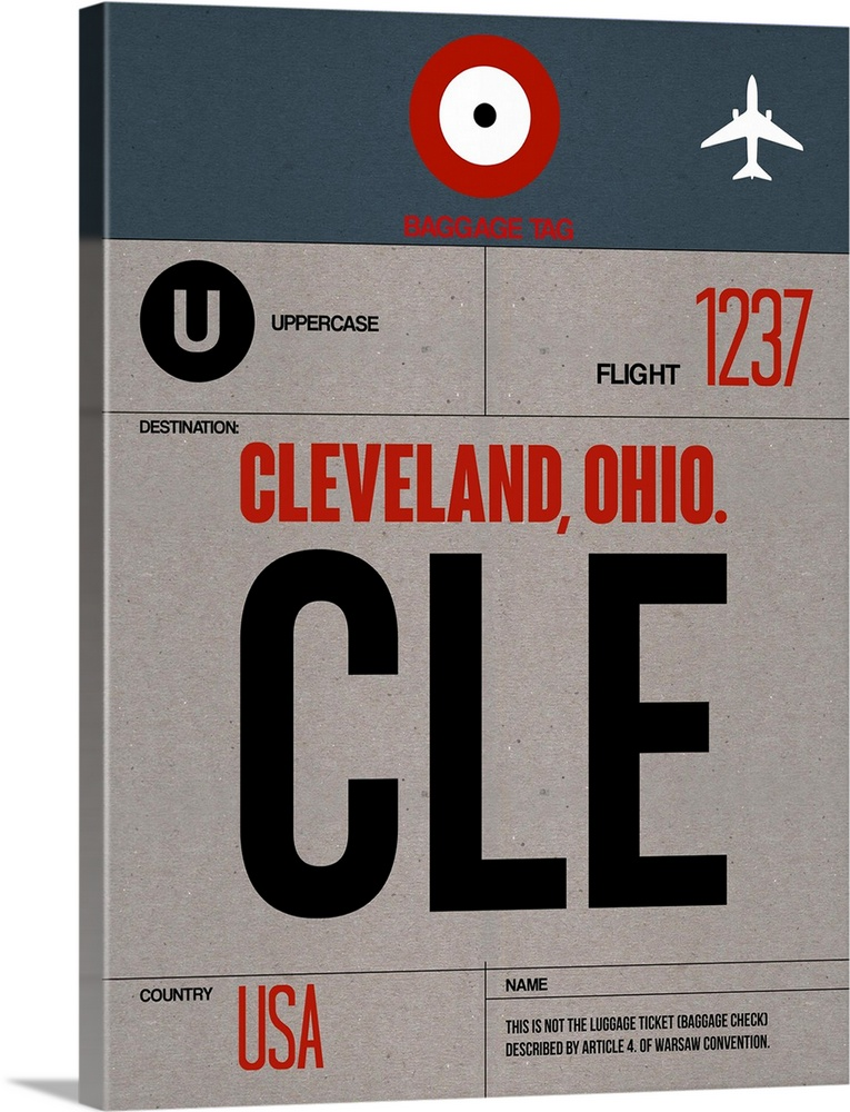 Large Solid-Faced Canvas Print Wall Art Print 30 x 40 entitled CLE Cleveland Luggage Tag I Solid-Faced Canvas Print entitled CLE Cleveland Luggage Tag I.  Multiple sizes available.  Primary colors within this image include Dark Red, Black, Light Gray.  Made in USA.  Satisfaction guaranteed.  Archival-quality UV-resistant inks.  Canvas is handcrafted and made-to-order in the United States using high quality artist-grade canvas.  Featuring a proprietary design, our canvases produce the tightest corners without any bubbles, ripples, or bumps and will not warp or sag over time.