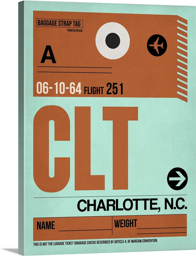 Large Solid-Faced Canvas Print Wall Art Print 30 x 40 entitled CLT Charlotte Luggage Tag I Solid-Faced Canvas Print entitled CLT Charlotte Luggage Tag I.  Multiple sizes available.  Primary colors within this image include Brown, Black, Silver.  Made in USA.  Satisfaction guaranteed.  Inks used are latex-based and designed to last.  Archival inks prevent fading and preserve as much fine detail as possible with no over-saturation or color shifting.  Canvas is handcrafted and made-to-order in the United States using high quality artist-grade canvas.