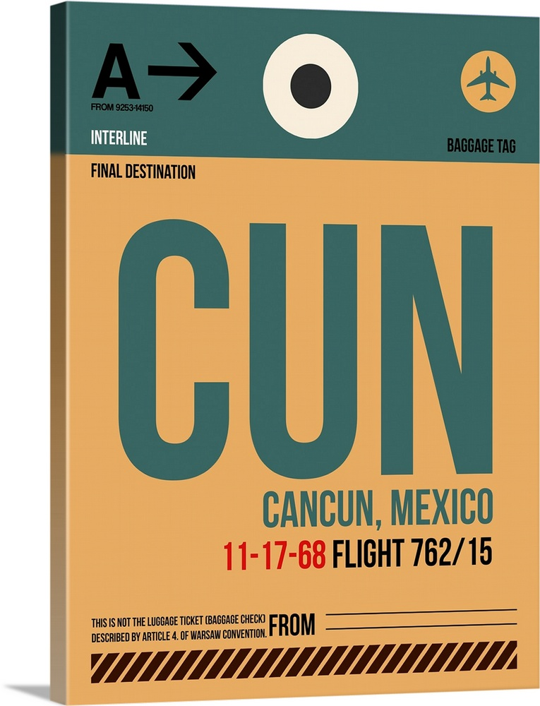 Large Solid-Faced Canvas Print Wall Art Print 30 x 40 entitled CUN Cancun Luggage Tag I Solid-Faced Canvas Print entitled CUN Cancun Luggage Tag I.  Multiple sizes available.  Primary colors within this image include Peach, Dark Gray, Gray, White.  Made in USA.  Satisfaction guaranteed.  Inks used are latex-based and designed to last.  Featuring a proprietary design, our canvases produce the tightest corners without any bubbles, ripples, or bumps and will not warp or sag over time.  Canvas is handcrafted and made-to-order in the United States using high quality artist-grade canvas.