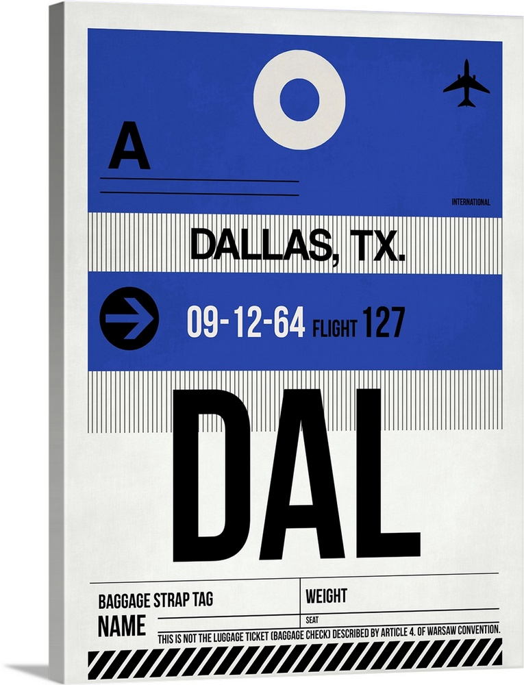 Large Solid-Faced Canvas Print Wall Art Print 30 x 40 entitled DAL Dallas Luggage Tag I Solid-Faced Canvas Print entitled DAL Dallas Luggage Tag I.  Multiple sizes available.  Primary colors within this image include Dark Blue, Black, Gray, White.  Made in the USA.  Satisfaction guaranteed.  Inks used are latex-based and designed to last.  Canvas depth is 1.25 and includes a finished backing with pre-installed hanging hardware.  Archival inks prevent fading and preserve as much fine detail as possible with no over-saturation or color shifting.