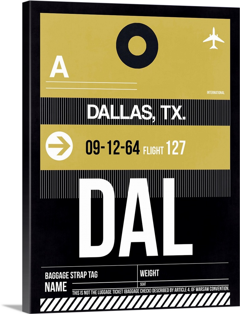 Large Solid-Faced Canvas Print Wall Art Print 30 x 40 entitled DAL Dallas Luggage Tag II Solid-Faced Canvas Print entitled DAL Dallas Luggage Tag II.  Multiple sizes available.  Primary colors within this image include Dark Yellow, Black, Gray, White.  Made in USA.  Satisfaction guaranteed.  Archival-quality UV-resistant inks.  Canvas depth is 1.25 and includes a finished backing with pre-installed hanging hardware.  Archival inks prevent fading and preserve as much fine detail as possible with no over-saturation or color shifting.