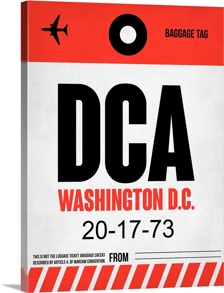 Large Solid-Faced Canvas Print Wall Art Print 30 x 40 entitled DCA Washington Luggage Tag I Solid-Faced Canvas Print entitled DCA Washington Luggage Tag I.  Multiple sizes available.  Primary colors within this image include Red, Black, Silver.  Made in USA.  Satisfaction guaranteed.  Archival-quality UV-resistant inks.  Canvas depth is 1.25 and includes a finished backing with pre-installed hanging hardware.  Archival inks prevent fading and preserve as much fine detail as possible with no over-saturation or color shifting.