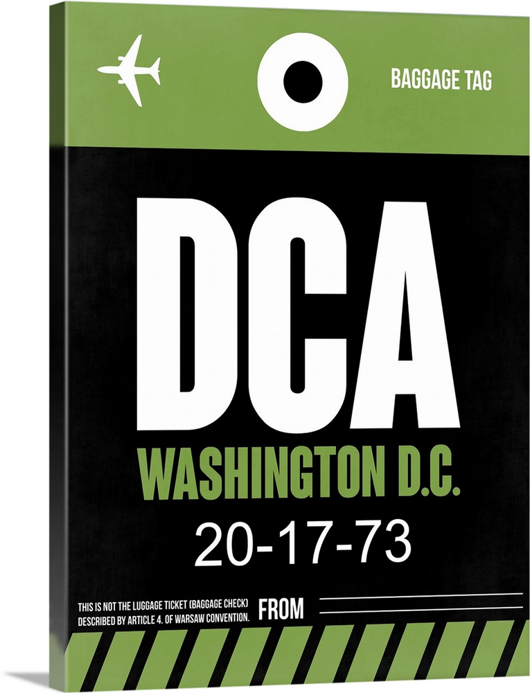 Large Solid-Faced Canvas Print Wall Art Print 30 x 40 entitled DCA Washington Luggage Tag II Solid-Faced Canvas Print entitled DCA Washington Luggage Tag II.  Multiple sizes available.  Primary colors within this image include Light Green, White, Dark Forest Green.  Made in the USA.  Satisfaction guaranteed.  Archival-quality UV-resistant inks.  Canvas depth is 1.25 and includes a finished backing with pre-installed hanging hardware.  Canvas is handcrafted and made-to-order in the United States using high quality artist-grade canvas.