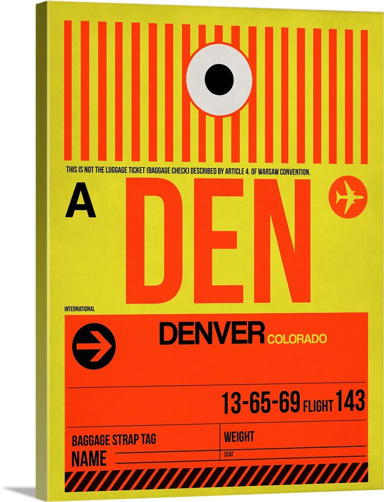 Large Solid-Faced Canvas Print Wall Art Print 30 x 40 entitled DEN Denver Luggage Tag I Solid-Faced Canvas Print entitled DEN Denver Luggage Tag I.  Multiple sizes available.  Primary colors within this image include Red, Dark Red, Light Yellow, Black.  Made in USA.  Satisfaction guaranteed.  Inks used are latex-based and designed to last.  Archival inks prevent fading and preserve as much fine detail as possible with no over-saturation or color shifting.  Featuring a proprietary design, our canvases produce the tightest corners without any bubbles, ripples, or bumps and will not warp or sag over time.