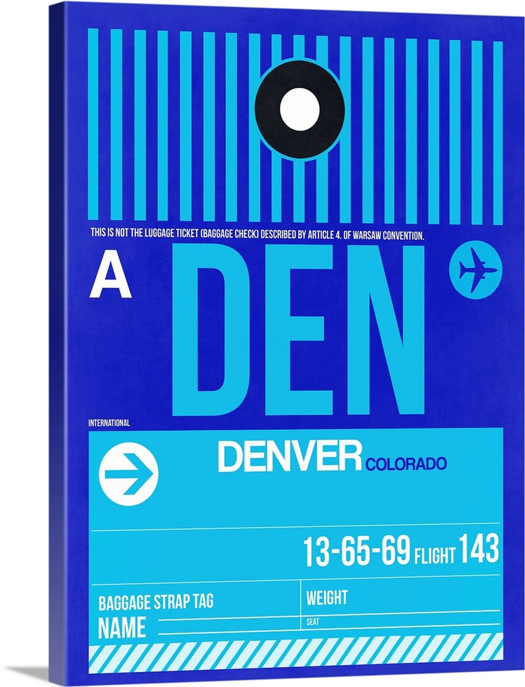 Large Solid-Faced Canvas Print Wall Art Print 30 x 40 entitled DEN Denver Luggage Tag II Solid-Faced Canvas Print entitled DEN Denver Luggage Tag II.  Multiple sizes available.  Primary colors within this image include Blue, Dark Gray, White, Teal.  Made in USA.  All products come with a 365 day workmanship guarantee.  Archival-quality UV-resistant inks.  Canvas depth is 1.25 and includes a finished backing with pre-installed hanging hardware.  Canvas is handcrafted and made-to-order in the United States using high quality artist-grade canvas.