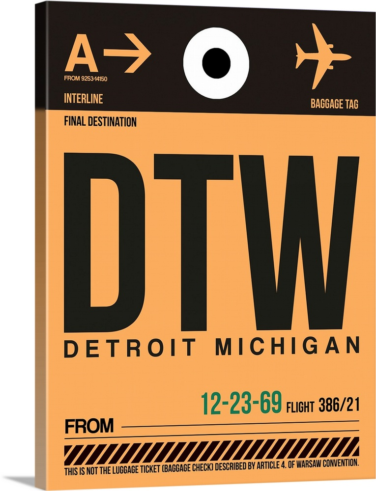 Large Solid-Faced Canvas Print Wall Art Print 30 x 40 entitled DTW Detroit  Luggage Tag I Solid-Faced Canvas Print entitled DTW Detroit  Luggage Tag I.  Multiple sizes available.  Primary colors within this image include Brown, Peach, Black, White.  Made in the USA.  Satisfaction guaranteed.  Inks used are latex-based and designed to last.  Canvas depth is 1.25 and includes a finished backing with pre-installed hanging hardware.  Canvas is handcrafted and made-to-order in the United States using high quality artist-grade canvas.