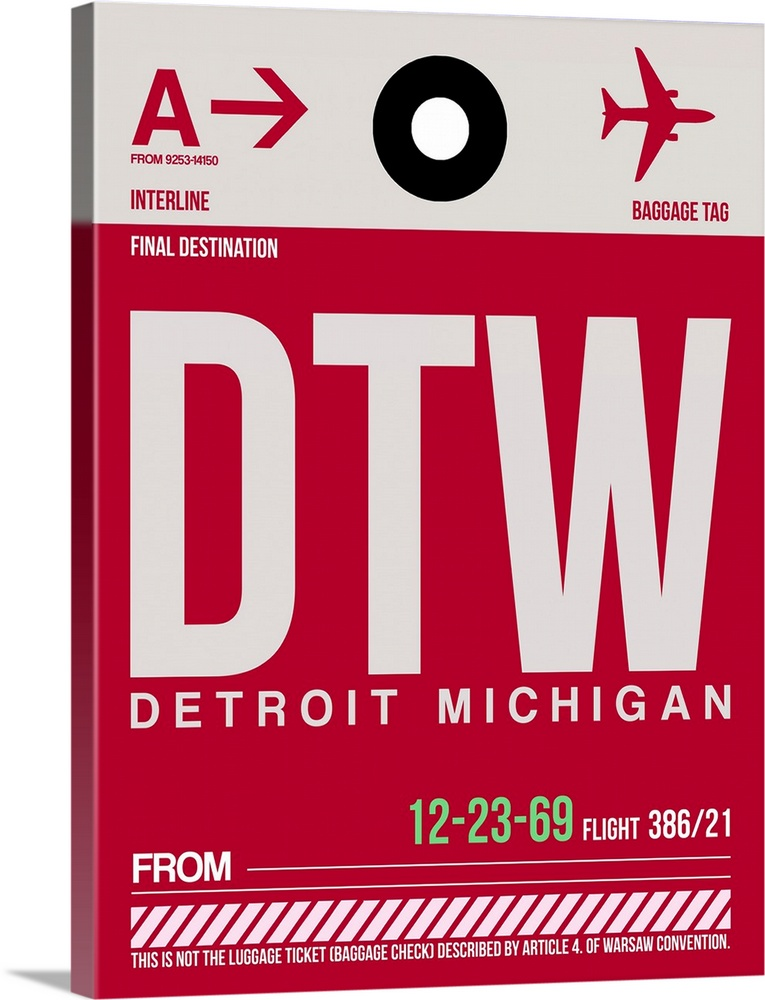 Large Solid-Faced Canvas Print Wall Art Print 30 x 40 entitled DTW Detroit  Luggage Tag I Solid-Faced Canvas Print entitled DTW Detroit  Luggage Tag I.  Multiple sizes available.  Primary colors within this image include Dark Red, Brown, Black, White.  Made in USA.  Satisfaction guaranteed.  Archival-quality UV-resistant inks.  Canvas depth is 1.25 and includes a finished backing with pre-installed hanging hardware.  Featuring a proprietary design, our canvases produce the tightest corners without any bubbles, ripples, or bumps and will not warp or sag over time.