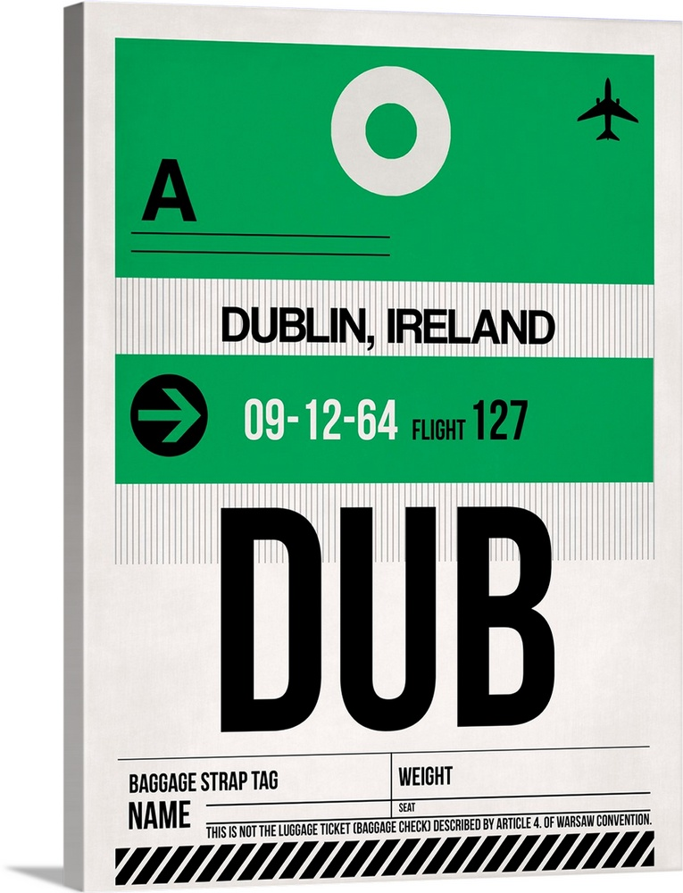 Large Solid-Faced Canvas Print Wall Art Print 30 x 40 entitled DUB Dublin Luggage Tag I Solid-Faced Canvas Print entitled DUB Dublin Luggage Tag I.  Multiple sizes available.  Primary colors within this image include Forest Green, Black, Gray, White.  Made in USA.  Satisfaction guaranteed.  Archival-quality UV-resistant inks.  Archival inks prevent fading and preserve as much fine detail as possible with no over-saturation or color shifting.  Featuring a proprietary design, our canvases produce the tightest corners without any bubbles, ripples, or bumps and will not warp or sag over time.