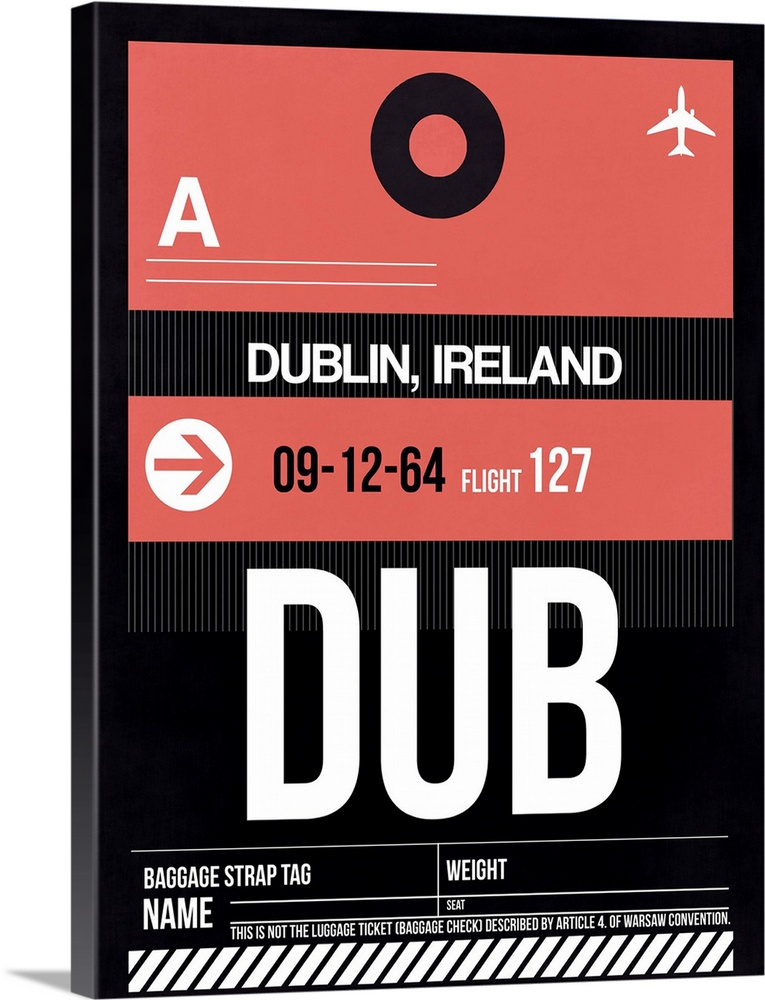 Large Solid-Faced Canvas Print Wall Art Print 30 x 40 entitled DUB Dublin Luggage Tag II Solid-Faced Canvas Print entitled DUB Dublin Luggage Tag II.  Multiple sizes available.  Primary colors within this image include Pink, Black, White.  Made in the USA.  All products come with a 365 day workmanship guarantee.  Inks used are latex-based and designed to last.  Canvas depth is 1.25 and includes a finished backing with pre-installed hanging hardware.  Featuring a proprietary design, our canvases produce the tightest corners without any bubbles, ripples, or bumps and will not warp or sag over time.