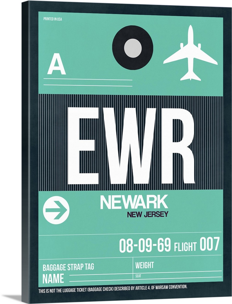 Large Solid-Faced Canvas Print Wall Art Print 30 x 40 entitled EWR Newark Luggage Tag II Solid-Faced Canvas Print entitled EWR Newark Luggage Tag II.  Multiple sizes available.  Primary colors within this image include White, Dark Navy Blue.  Made in the USA.  Satisfaction guaranteed.  Inks used are latex-based and designed to last.  Canvas is handcrafted and made-to-order in the United States using high quality artist-grade canvas.  Archival inks prevent fading and preserve as much fine detail as possible with no over-saturation or color shifting.