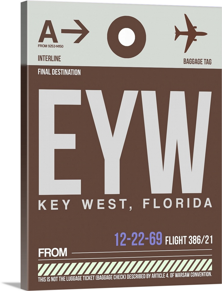 Large Solid-Faced Canvas Print Wall Art Print 30 x 40 entitled EYW Key West Luggage Tag II Solid-Faced Canvas Print entitled EYW Key West Luggage Tag II.  Multiple sizes available.  Primary colors within this image include Lilac, Gray, White.  Made in the USA.  Satisfaction guaranteed.  Archival-quality UV-resistant inks.  Canvas is handcrafted and made-to-order in the United States using high quality artist-grade canvas.  Archival inks prevent fading and preserve as much fine detail as possible with no over-saturation or color shifting.