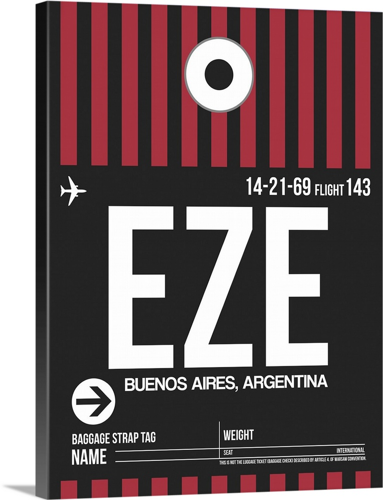 Large Solid-Faced Canvas Print Wall Art Print 30 x 40 entitled EZE Buenos Aires Luggage Tag II Solid-Faced Canvas Print entitled EZE Buenos Aires Luggage Tag II.  Multiple sizes available.  Primary colors within this image include Pink, Dark Gray, Light Gray, White.  Made in the USA.  Satisfaction guaranteed.  Archival-quality UV-resistant inks.  Canvas depth is 1.25 and includes a finished backing with pre-installed hanging hardware.  Featuring a proprietary design, our canvases produce the tightest corners without any bubbles, ripples, or bumps and will not warp or sag over time.