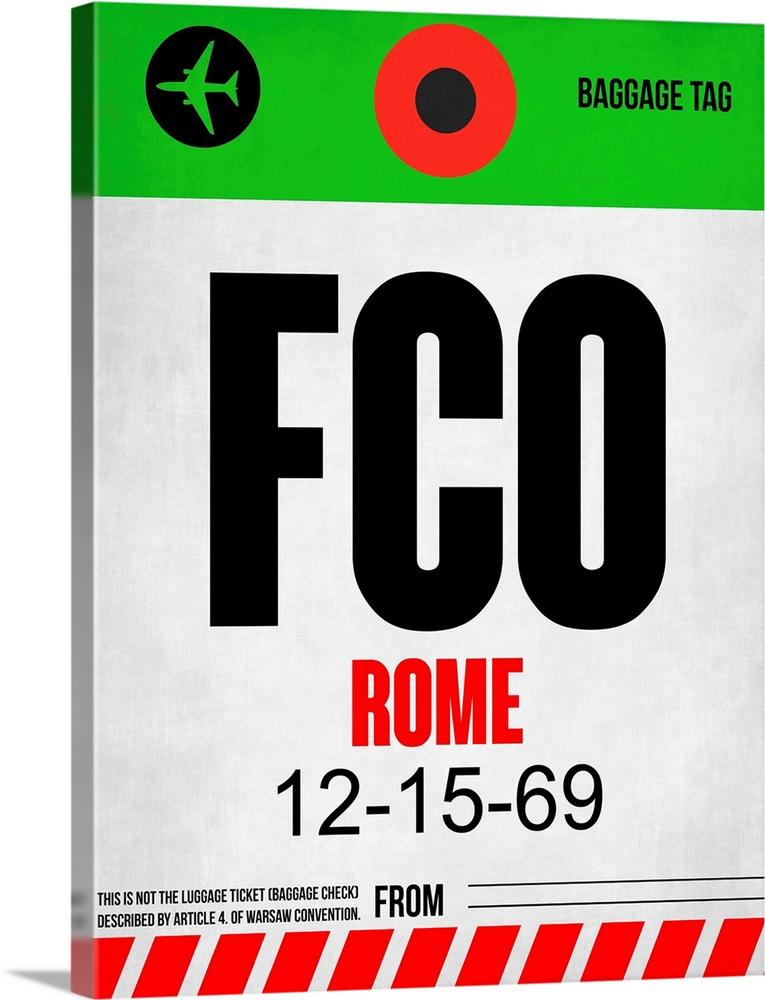 Large Solid-Faced Canvas Print Wall Art Print 30 x 40 entitled FCO Rome Luggage Tag I Solid-Faced Canvas Print entitled FCO Rome Luggage Tag I.  Multiple sizes available.  Primary colors within this image include Red, Green, Silver, Dark Forest Green.  Made in USA.  All products come with a 365 day workmanship guarantee.  Inks used are latex-based and designed to last.  Featuring a proprietary design, our canvases produce the tightest corners without any bubbles, ripples, or bumps and will not warp or sag over time.  Canvas depth is 1.25 and includes a finished backing with pre-installed hanging hardware.