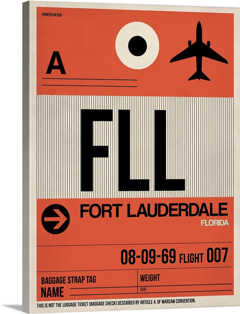 Large Solid-Faced Canvas Print Wall Art Print 30 x 40 entitled FLL Fort Lauderdale Luggage Tag I Solid-Faced Canvas Print entitled FLL Fort Lauderdale Luggage Tag I.  Multiple sizes available.  Primary colors within this image include Dark Red, Pink, Black, Silver.  Made in the USA.  All products come with a 365 day workmanship guarantee.  Archival-quality UV-resistant inks.  Canvas is handcrafted and made-to-order in the United States using high quality artist-grade canvas.  Archival inks prevent fading and preserve as much fine detail as possible with no over-saturation or color shifting.