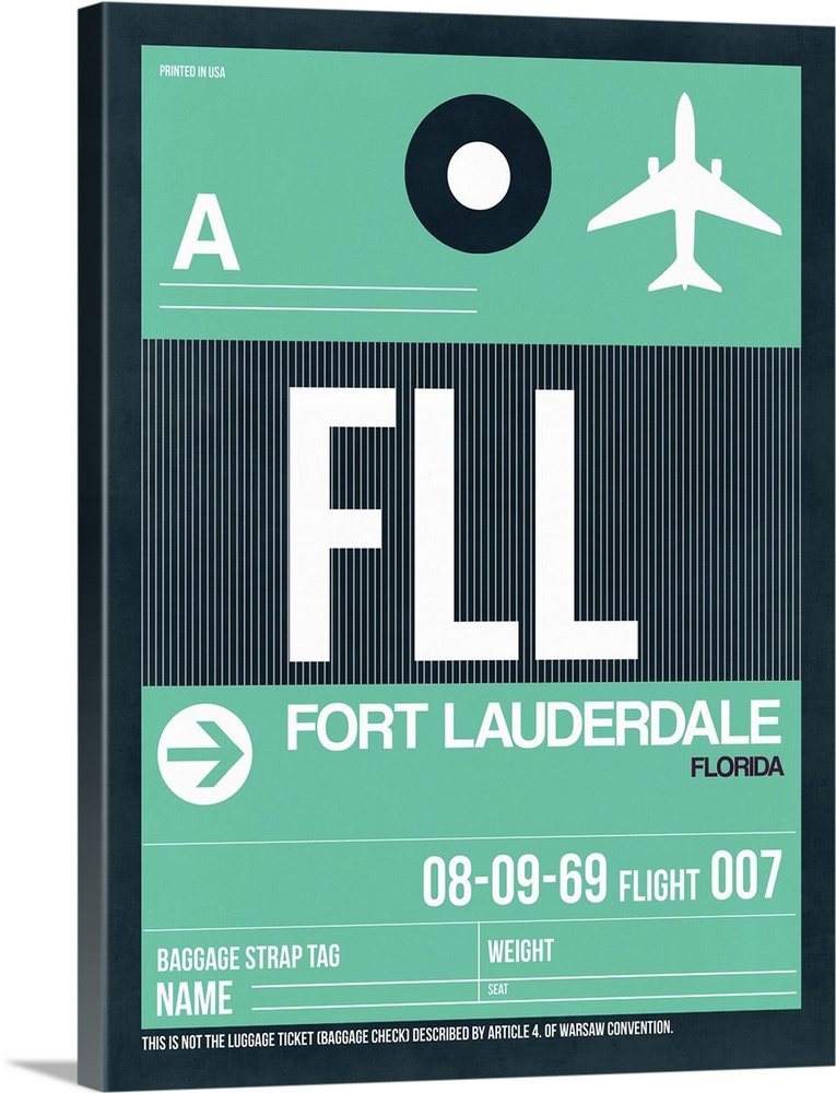 Large Solid-Faced Canvas Print Wall Art Print 30 x 40 entitled FLL Fort Lauderdale Luggage Tag II Solid-Faced Canvas Print entitled FLL Fort Lauderdale Luggage Tag II.  Multiple sizes available.  Primary colors within this image include Light Green, White, Dark Navy Blue.  Made in the USA.  Satisfaction guaranteed.  Archival-quality UV-resistant inks.  Archival inks prevent fading and preserve as much fine detail as possible with no over-saturation or color shifting.  Featuring a proprietary design, our canvases produce the tightest corners without any bubbles, ripples, or bumps and will not warp or sag over time.