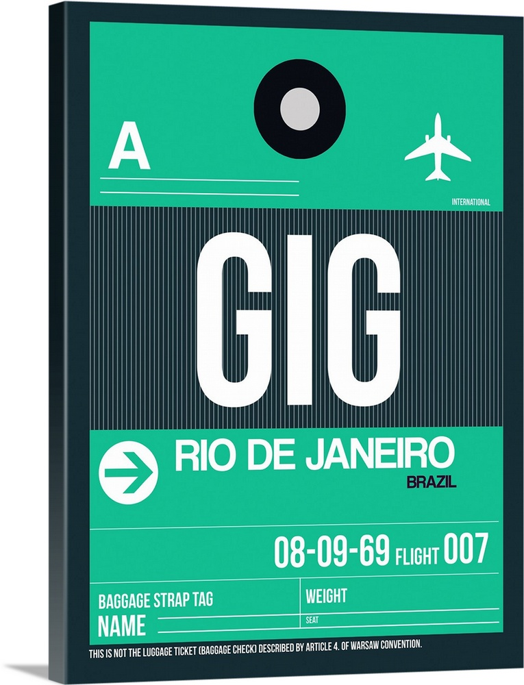 Large Solid-Faced Canvas Print Wall Art Print 30 x 40 entitled GIG Rio De Janeiro Luggage Tag I Solid-Faced Canvas Print entitled GIG Rio De Janeiro Luggage Tag I.  Multiple sizes available.  Primary colors within this image include Light Green, Dark Gray, White.  Made in the USA.  Satisfaction guaranteed.  Inks used are latex-based and designed to last.  Canvas depth is 1.25 and includes a finished backing with pre-installed hanging hardware.  Canvas is handcrafted and made-to-order in the United States using high quality artist-grade canvas.
