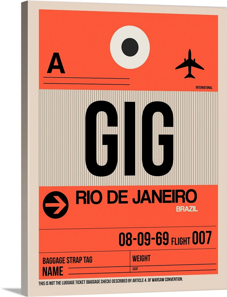 Large Solid-Faced Canvas Print Wall Art Print 30 x 40 entitled GIG Rio De Janeiro Luggage Tag II Solid-Faced Canvas Print entitled GIG Rio De Janeiro Luggage Tag II.  Multiple sizes available.  Primary colors within this image include Pink, Black, Gray, Silver.  Made in USA.  Satisfaction guaranteed.  Archival-quality UV-resistant inks.  Archival inks prevent fading and preserve as much fine detail as possible with no over-saturation or color shifting.  Canvas is handcrafted and made-to-order in the United States using high quality artist-grade canvas.