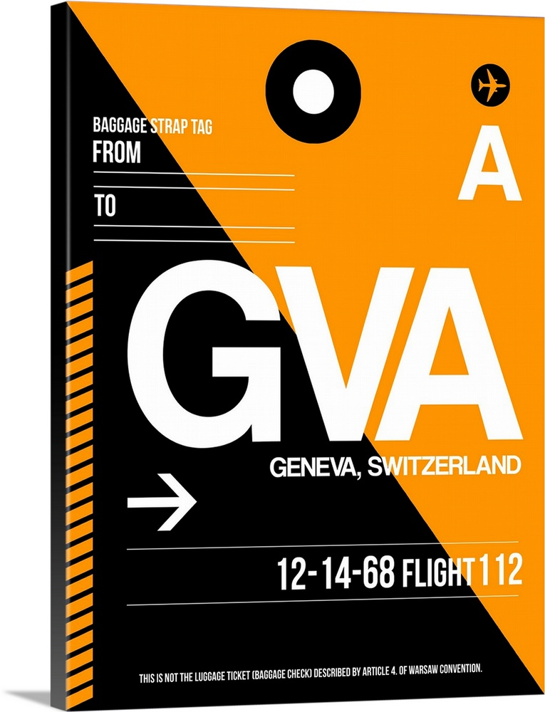 Large Solid-Faced Canvas Print Wall Art Print 30 x 40 entitled GVA Geneva Luggage Tag II Solid-Faced Canvas Print entitled GVA Geneva Luggage Tag II.  Multiple sizes available.  Primary colors within this image include Orange, Brown, Black, White.  Made in the USA.  Satisfaction guaranteed.  Archival-quality UV-resistant inks.  Featuring a proprietary design, our canvases produce the tightest corners without any bubbles, ripples, or bumps and will not warp or sag over time.  Canvas depth is 1.25 and includes a finished backing with pre-installed hanging hardware.