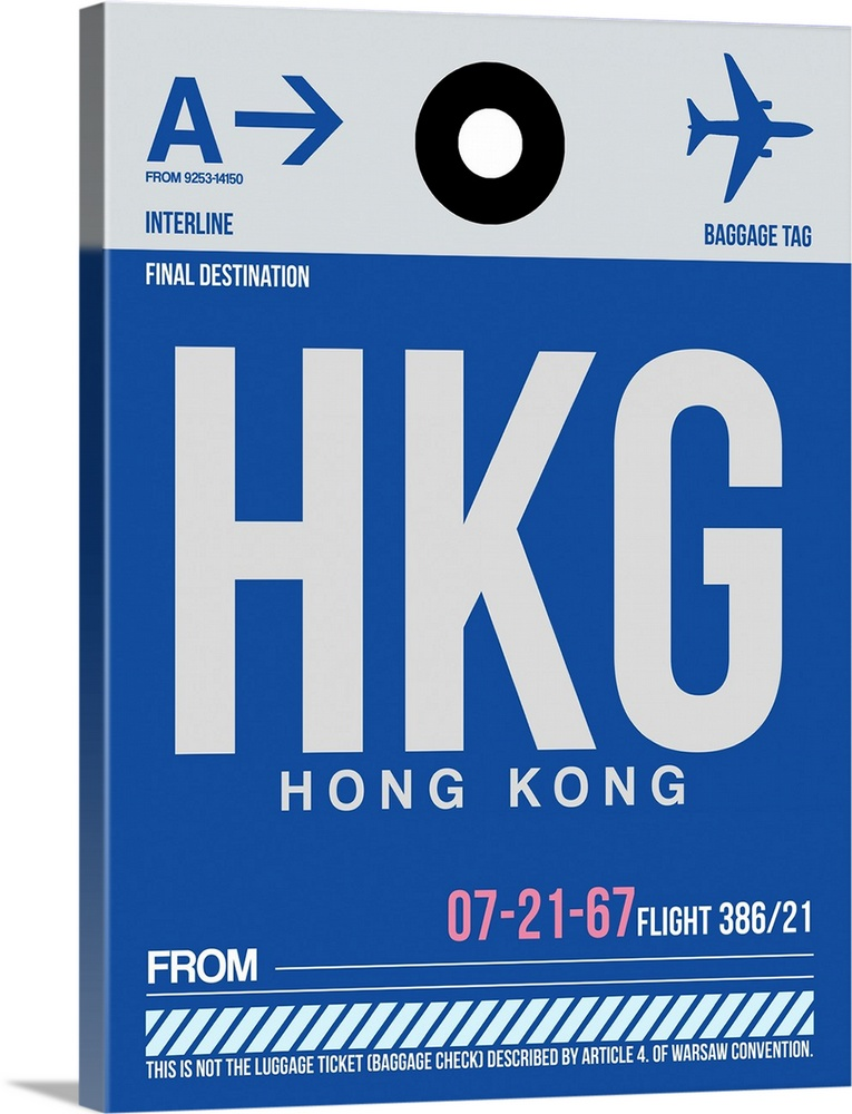 Large Solid-Faced Canvas Print Wall Art Print 30 x 40 entitled HKG Hog Kong Luggage Tag I Solid-Faced Canvas Print entitled HKG Hog Kong Luggage Tag I.  Multiple sizes available.  Primary colors within this image include Light Purple, Black, White, Muted Blue.  Made in the USA.  All products come with a 365 day workmanship guarantee.  Inks used are latex-based and designed to last.  Canvas depth is 1.25 and includes a finished backing with pre-installed hanging hardware.  Archival inks prevent fading and preserve as much fine detail as possible with no over-saturation or color shifting.