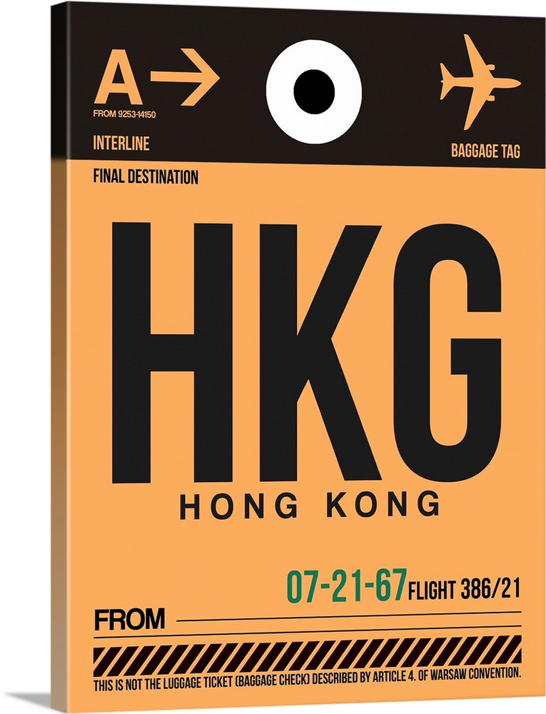 Large Solid-Faced Canvas Print Wall Art Print 30 x 40 entitled HKG Hog Kong Luggage Tag II Solid-Faced Canvas Print entitled HKG Hog Kong Luggage Tag II.  Multiple sizes available.  Primary colors within this image include Peach, Black, Gray, White.  Made in USA.  All products come with a 365 day workmanship guarantee.  Inks used are latex-based and designed to last.  Canvas depth is 1.25 and includes a finished backing with pre-installed hanging hardware.  Featuring a proprietary design, our canvases produce the tightest corners without any bubbles, ripples, or bumps and will not warp or sag over time.