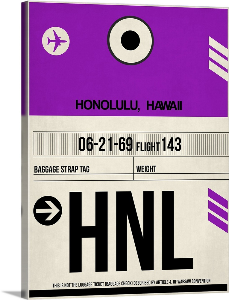 Large Solid-Faced Canvas Print Wall Art Print 30 x 40 entitled HNL Honolulu Luggage Tag I Solid-Faced Canvas Print entitled HNL Honolulu Luggage Tag I.  Multiple sizes available.  Primary colors within this image include Dark Purple, Black, White.  Made in USA.  All products come with a 365 day workmanship guarantee.  Archival-quality UV-resistant inks.  Featuring a proprietary design, our canvases produce the tightest corners without any bubbles, ripples, or bumps and will not warp or sag over time.  Canvas depth is 1.25 and includes a finished backing with pre-installed hanging hardware.