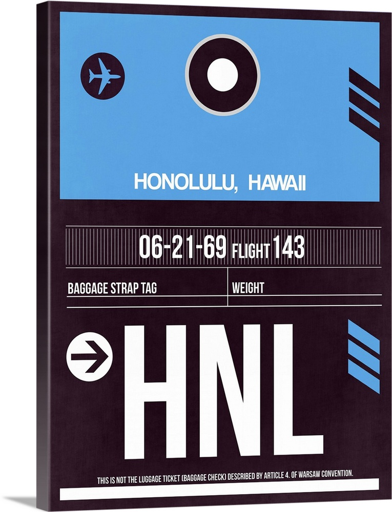 Large Solid-Faced Canvas Print Wall Art Print 30 x 40 entitled HNL Honolulu Luggage Tag II Solid-Faced Canvas Print entitled HNL Honolulu Luggage Tag II.  Multiple sizes available.  Primary colors within this image include Sky Blue, Black, Gray, White.  Made in the USA.  All products come with a 365 day workmanship guarantee.  Archival-quality UV-resistant inks.  Archival inks prevent fading and preserve as much fine detail as possible with no over-saturation or color shifting.  Featuring a proprietary design, our canvases produce the tightest corners without any bubbles, ripples, or bumps and will not warp or sag over time.