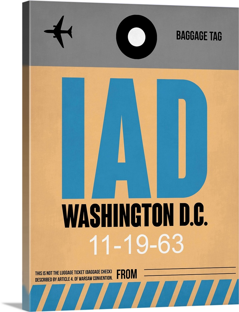 Large Solid-Faced Canvas Print Wall Art Print 30 x 40 entitled IAD Washington Luggage Tag I Solid-Faced Canvas Print entitled IAD Washington Luggage Tag I.  Multiple sizes available.  Primary colors within this image include Peach, Black, Light Gray.  Made in the USA.  All products come with a 365 day workmanship guarantee.  Inks used are latex-based and designed to last.  Canvas depth is 1.25 and includes a finished backing with pre-installed hanging hardware.  Featuring a proprietary design, our canvases produce the tightest corners without any bubbles, ripples, or bumps and will not warp or sag over time.