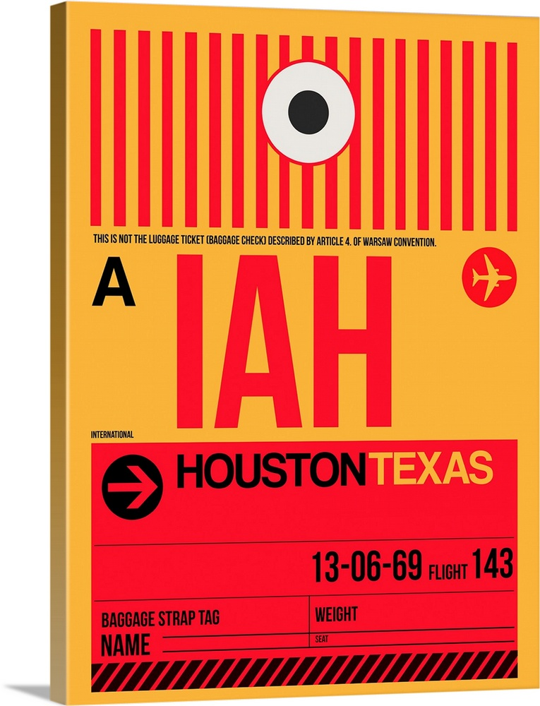 Large Solid-Faced Canvas Print Wall Art Print 30 x 40 entitled IAH Houston Luggage Tag I Solid-Faced Canvas Print entitled IAH Houston Luggage Tag I.  Multiple sizes available.  Primary colors within this image include Red, Dark Red, Peach, Black.  Made in the USA.  All products come with a 365 day workmanship guarantee.  Inks used are latex-based and designed to last.  Featuring a proprietary design, our canvases produce the tightest corners without any bubbles, ripples, or bumps and will not warp or sag over time.  Canvas is handcrafted and made-to-order in the United States using high quality artist-grade canvas.
