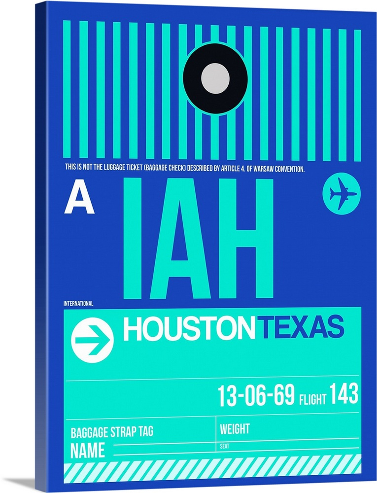 Large Solid-Faced Canvas Print Wall Art Print 30 x 40 entitled IAH Houston Luggage Tag II Solid-Faced Canvas Print entitled IAH Houston Luggage Tag II.  Multiple sizes available.  Primary colors within this image include Dark Blue, White, Teal.  Made in USA.  All products come with a 365 day workmanship guarantee.  Inks used are latex-based and designed to last.  Archival inks prevent fading and preserve as much fine detail as possible with no over-saturation or color shifting.  Featuring a proprietary design, our canvases produce the tightest corners without any bubbles, ripples, or bumps and will not warp or sag over time.