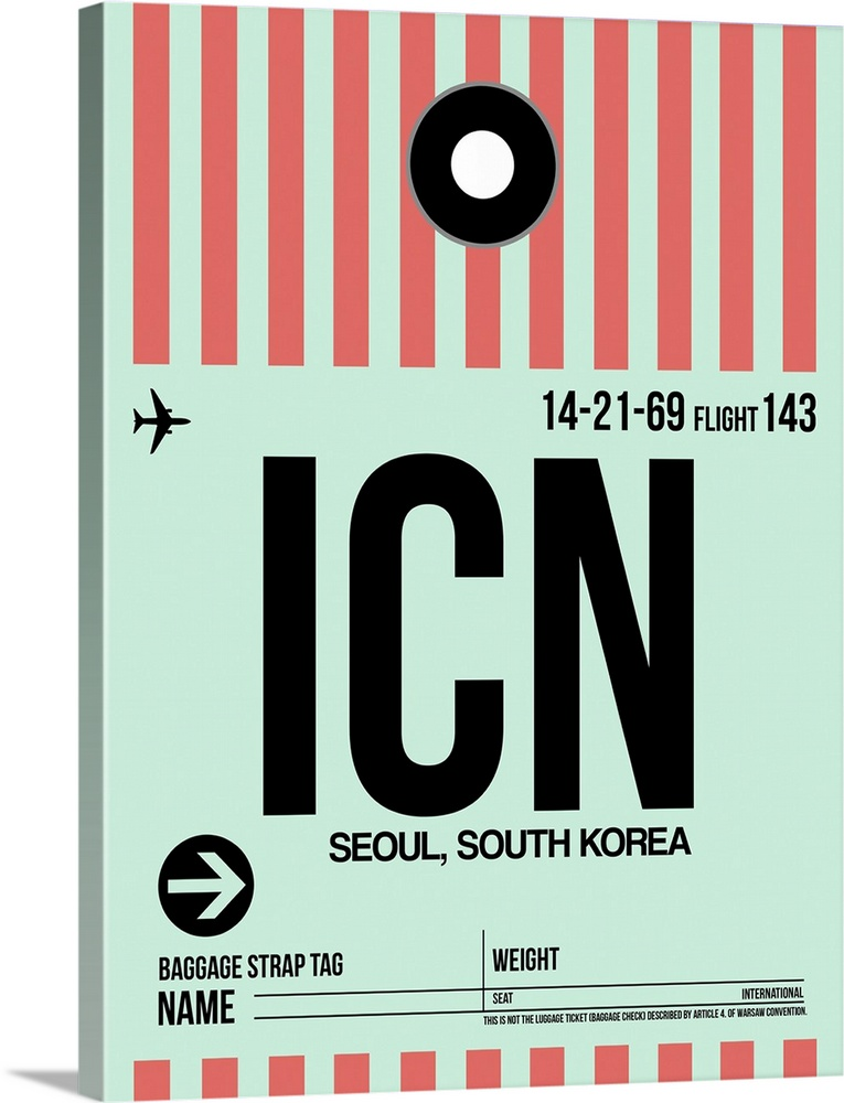 Large Solid-Faced Canvas Print Wall Art Print 30 x 40 entitled ICN Seoul Luggage Tag I Solid-Faced Canvas Print entitled ICN Seoul Luggage Tag I.  Multiple sizes available.  Primary colors within this image include Pink, Black, Gray, Silver.  Made in USA.  All products come with a 365 day workmanship guarantee.  Inks used are latex-based and designed to last.  Archival inks prevent fading and preserve as much fine detail as possible with no over-saturation or color shifting.  Canvas is handcrafted and made-to-order in the United States using high quality artist-grade canvas.