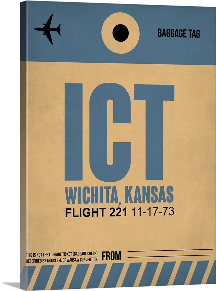 Large Solid-Faced Canvas Print Wall Art Print 30 x 40 entitled ICT Wichita Luggage Tag I Solid-Faced Canvas Print entitled ICT Wichita Luggage Tag I.  Multiple sizes available.  Primary colors within this image include Peach, Dark Forest Green, Gray Blue.  Made in the USA.  Satisfaction guaranteed.  Archival-quality UV-resistant inks.  Canvas is handcrafted and made-to-order in the United States using high quality artist-grade canvas.  Archival inks prevent fading and preserve as much fine detail as possible with no over-saturation or color shifting.