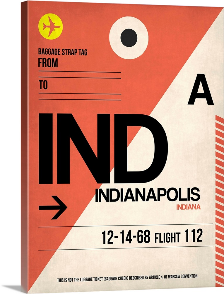 Large Solid-Faced Canvas Print Wall Art Print 30 x 40 entitled IND Indianapolis Luggage Tag I Solid-Faced Canvas Print entitled IND Indianapolis Luggage Tag I.  Multiple sizes available.  Primary colors within this image include Yellow, Pink, Black, White.  Made in the USA.  All products come with a 365 day workmanship guarantee.  Archival-quality UV-resistant inks.  Archival inks prevent fading and preserve as much fine detail as possible with no over-saturation or color shifting.  Canvas is handcrafted and made-to-order in the United States using high quality artist-grade canvas.