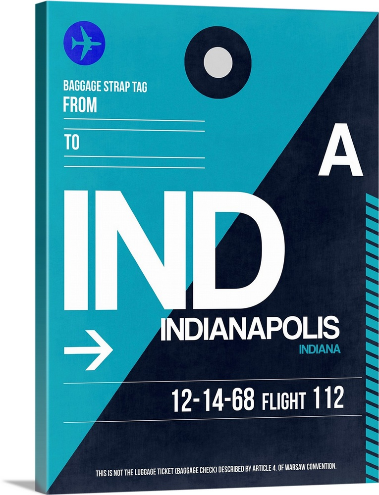 Large Solid-Faced Canvas Print Wall Art Print 30 x 40 entitled IND Indianapolis Luggage Tag II Solid-Faced Canvas Print entitled IND Indianapolis Luggage Tag II.  Multiple sizes available.  Primary colors within this image include Blue, White, Teal, Dark Navy Blue.  Made in the USA.  All products come with a 365 day workmanship guarantee.  Archival-quality UV-resistant inks.  Archival inks prevent fading and preserve as much fine detail as possible with no over-saturation or color shifting.  Featuring a proprietary design, our canvases produce the tightest corners without any bubbles, ripples, or bumps and will not warp or sag over time.