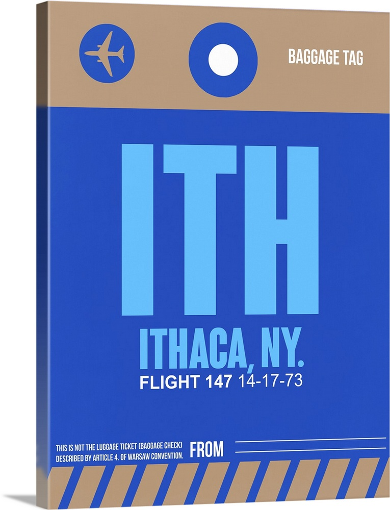 Large Solid-Faced Canvas Print Wall Art Print 30 x 40 entitled ITH Ithaca Luggage Tag II Solid-Faced Canvas Print entitled ITH Ithaca Luggage Tag II.  Multiple sizes available.  Primary colors within this image include Dark Blue, Sky Blue, Black, White.  Made in the USA.  All products come with a 365 day workmanship guarantee.  Archival-quality UV-resistant inks.  Featuring a proprietary design, our canvases produce the tightest corners without any bubbles, ripples, or bumps and will not warp or sag over time.  Canvas depth is 1.25 and includes a finished backing with pre-installed hanging hardware.