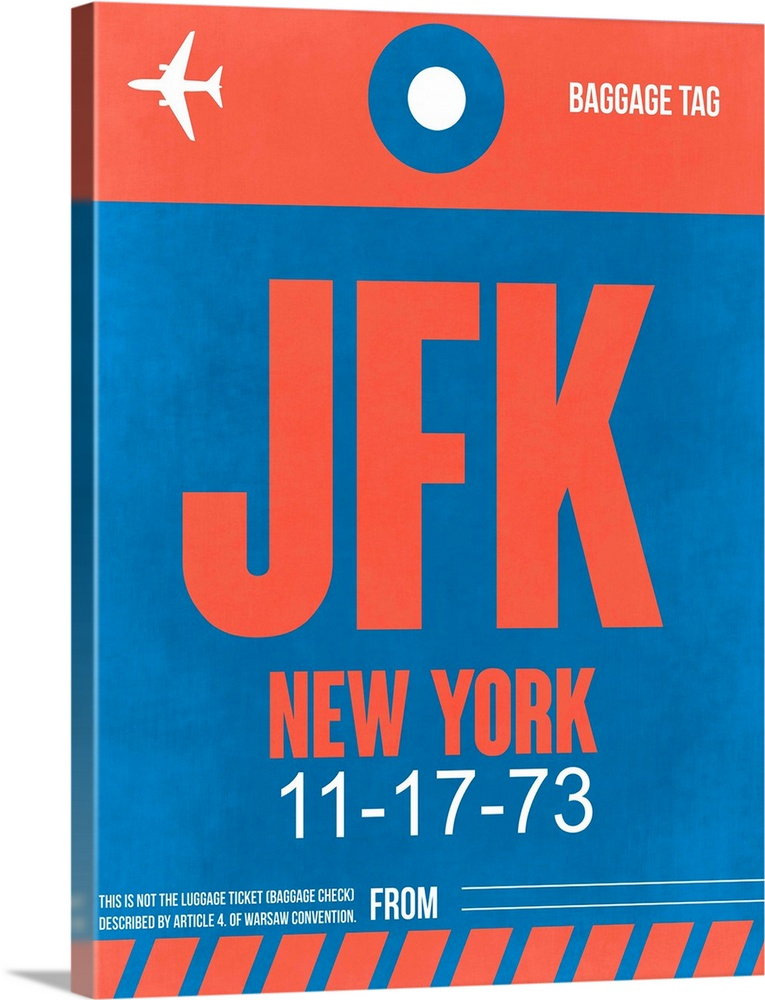 Large Solid-Faced Canvas Print Wall Art Print 30 x 40 entitled JFK New York Luggage Tag I Solid-Faced Canvas Print entitled JFK New York Luggage Tag I.  Multiple sizes available.  Primary colors within this image include Pink, Gray, White, Royal Blue.  Made in the USA.  All products come with a 365 day workmanship guarantee.  Archival-quality UV-resistant inks.  Featuring a proprietary design, our canvases produce the tightest corners without any bubbles, ripples, or bumps and will not warp or sag over time.  Canvas depth is 1.25 and includes a finished backing with pre-installed hanging hardware.