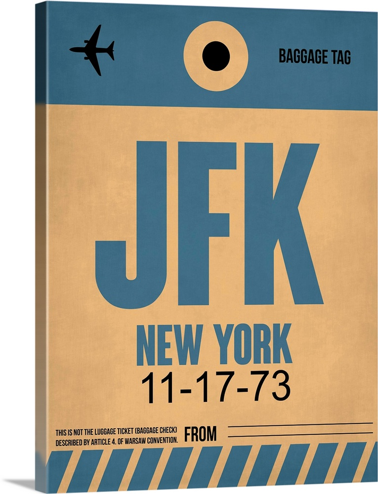 Large Solid-Faced Canvas Print Wall Art Print 30 x 40 entitled JFK New York Luggage Tag II Solid-Faced Canvas Print entitled JFK New York Luggage Tag II.  Multiple sizes available.  Primary colors within this image include Peach, Black, Gray Blue.  Made in USA.  Satisfaction guaranteed.  Archival-quality UV-resistant inks.  Featuring a proprietary design, our canvases produce the tightest corners without any bubbles, ripples, or bumps and will not warp or sag over time.  Canvas is handcrafted and made-to-order in the United States using high quality artist-grade canvas.
