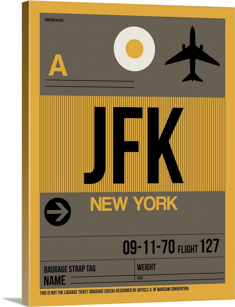 Large Solid-Faced Canvas Print Wall Art Print 30 x 40 entitled JFK New York Luggage Tag III Solid-Faced Canvas Print entitled JFK New York Luggage Tag III.  Multiple sizes available.  Primary colors within this image include Brown, Peach, Black, White.  Made in the USA.  Satisfaction guaranteed.  Inks used are latex-based and designed to last.  Canvas depth is 1.25 and includes a finished backing with pre-installed hanging hardware.  Featuring a proprietary design, our canvases produce the tightest corners without any bubbles, ripples, or bumps and will not warp or sag over time.