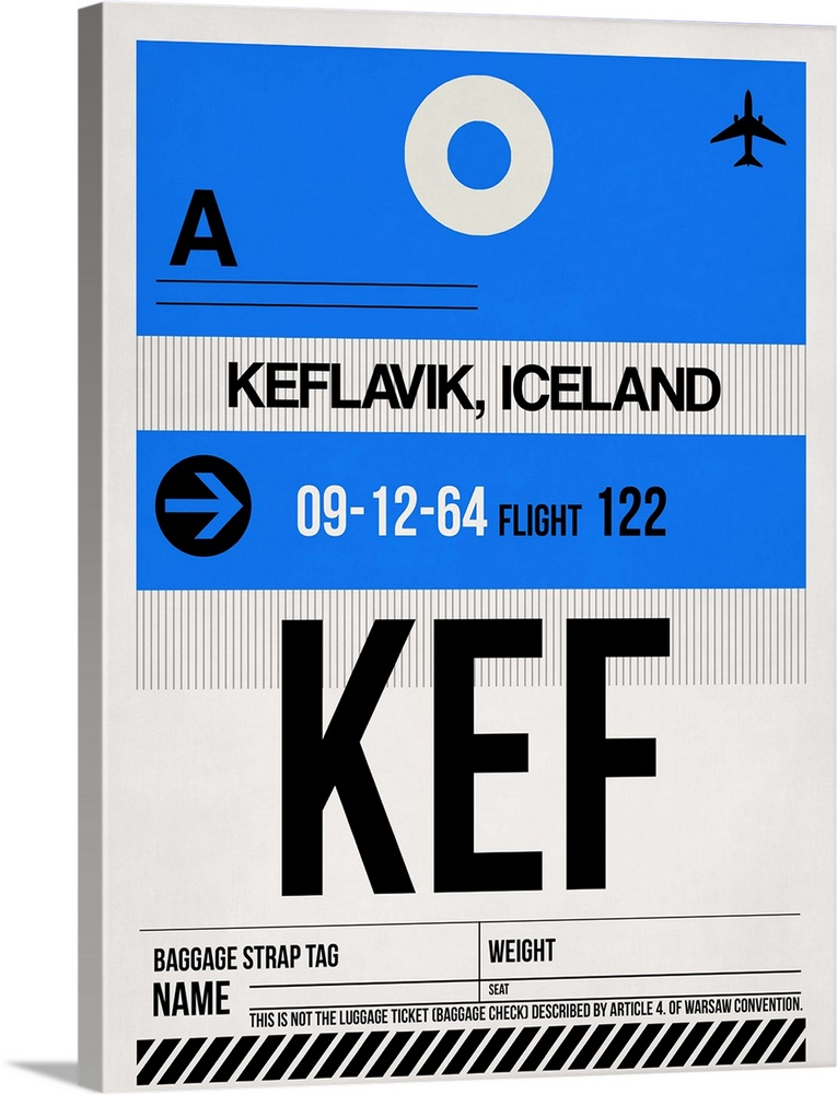 Large Solid-Faced Canvas Print Wall Art Print 30 x 40 entitled KEF Keflavik Luggage Tag I Solid-Faced Canvas Print entitled KEF Keflavik Luggage Tag I.  Multiple sizes available.  Primary colors within this image include Black, White, Muted Blue, Royal Blue.  Made in the USA.  All products come with a 365 day workmanship guarantee.  Archival-quality UV-resistant inks.  Canvas depth is 1.25 and includes a finished backing with pre-installed hanging hardware.  Archival inks prevent fading and preserve as much fine detail as possible with no over-saturation or color shifting.