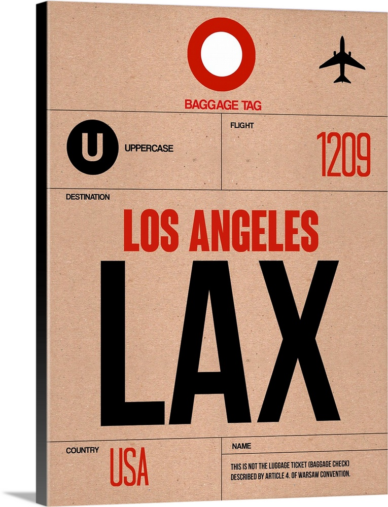 Large Solid-Faced Canvas Print Wall Art Print 30 x 40 entitled LAX Los Angeles Luggage Tag I Solid-Faced Canvas Print entitled LAX Los Angeles Luggage Tag I.  Multiple sizes available.  Primary colors within this image include Red, Peach, Black.  Made in USA.  Satisfaction guaranteed.  Inks used are latex-based and designed to last.  Canvas is handcrafted and made-to-order in the United States using high quality artist-grade canvas.  Canvas depth is 1.25 and includes a finished backing with pre-installed hanging hardware.