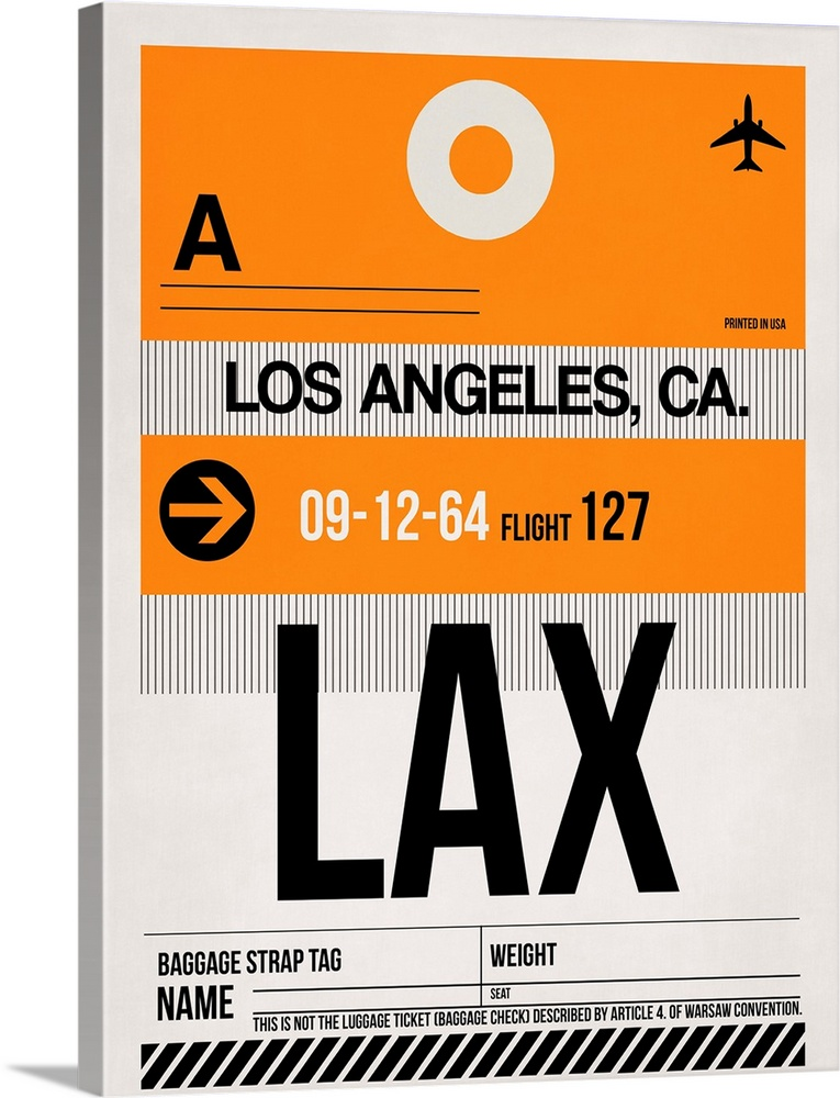 Large Solid-Faced Canvas Print Wall Art Print 30 x 40 entitled LAX Los Angeles Luggage Tag II Solid-Faced Canvas Print entitled LAX Los Angeles Luggage Tag II.  Multiple sizes available.  Primary colors within this image include Orange, Black, Gray, Silver.  Made in USA.  Satisfaction guaranteed.  Archival-quality UV-resistant inks.  Archival inks prevent fading and preserve as much fine detail as possible with no over-saturation or color shifting.  Canvas depth is 1.25 and includes a finished backing with pre-installed hanging hardware.