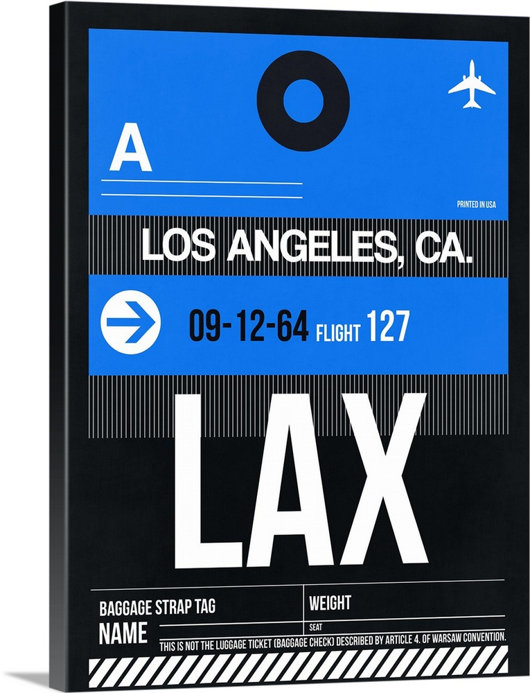 Large Solid-Faced Canvas Print Wall Art Print 30 x 40 entitled LAX Los Angeles Luggage Tag III Solid-Faced Canvas Print entitled LAX Los Angeles Luggage Tag III.  Multiple sizes available.  Primary colors within this image include Black, Gray, White, Royal Blue.  Made in USA.  Satisfaction guaranteed.  Archival-quality UV-resistant inks.  Archival inks prevent fading and preserve as much fine detail as possible with no over-saturation or color shifting.  Featuring a proprietary design, our canvases produce the tightest corners without any bubbles, ripples, or bumps and will not warp or sag over time.