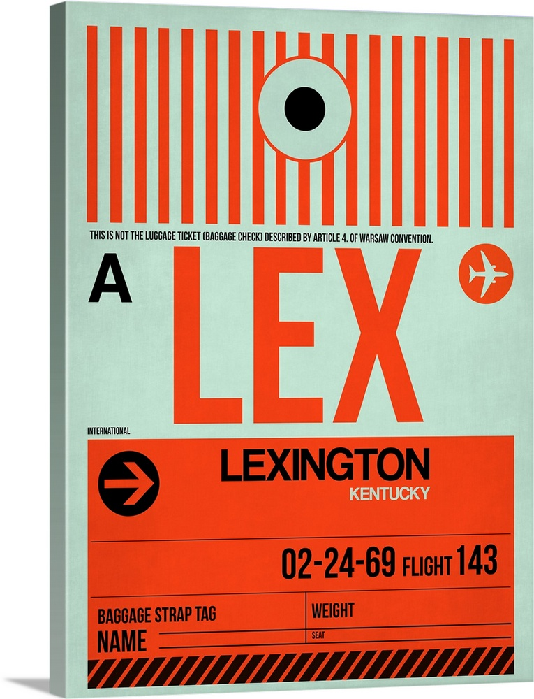 Large Solid-Faced Canvas Print Wall Art Print 30 x 40 entitled LEX Lexington Luggage Tag I Solid-Faced Canvas Print entitled LEX Lexington Luggage Tag I.  Multiple sizes available.  Primary colors within this image include Red, Dark Red, Black, Silver.  Made in the USA.  All products come with a 365 day workmanship guarantee.  Inks used are latex-based and designed to last.  Featuring a proprietary design, our canvases produce the tightest corners without any bubbles, ripples, or bumps and will not warp or sag over time.  Canvas depth is 1.25 and includes a finished backing with pre-installed hanging hardware.