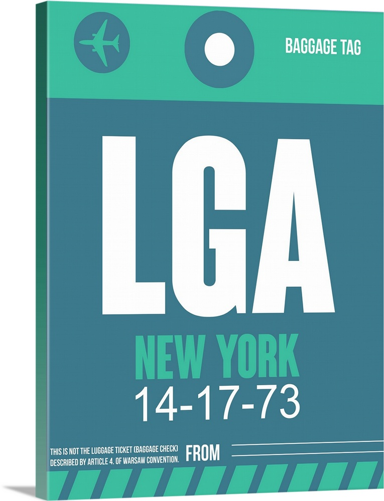 Large Solid-Faced Canvas Print Wall Art Print 30 x 40 entitled LGA New York Luggage Tag II Solid-Faced Canvas Print entitled LGA New York Luggage Tag II.  Multiple sizes available.  Primary colors within this image include Black, White, Gray Blue.  Made in the USA.  All products come with a 365 day workmanship guarantee.  Archival-quality UV-resistant inks.  Archival inks prevent fading and preserve as much fine detail as possible with no over-saturation or color shifting.  Canvas depth is 1.25 and includes a finished backing with pre-installed hanging hardware.